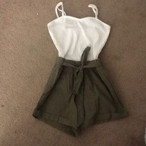 Romper (shirt top and green bottom)